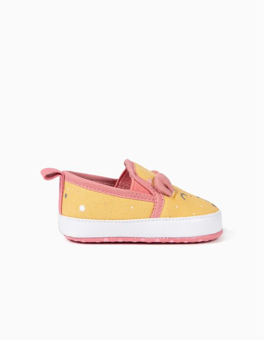 Zapatillas Slip-On para Recién Nacida, Amarillo/Rosa