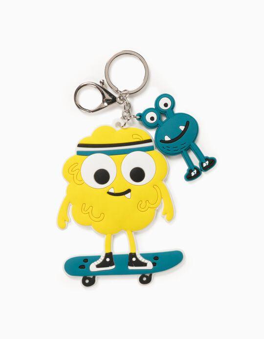 Keyring for Children 'Skater Monster', Yellow/Blue