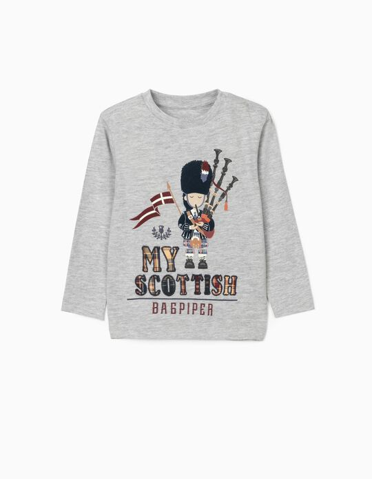 Long Sleeve T-Shirt for Baby Boys 'Bagpiper', Grey