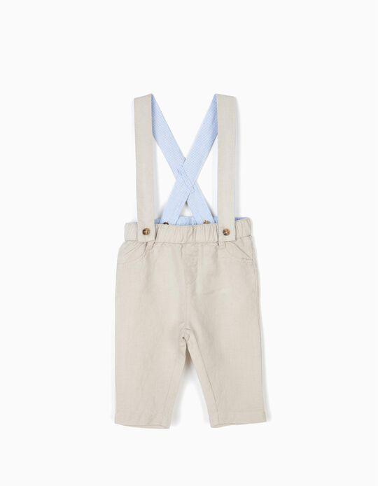 Pantalón con Tirantes para Recién Nacido de Lino, Beige