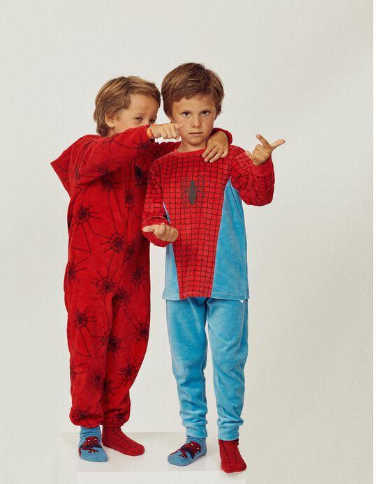 Pijama de Terciopelo para Niño 'Spider-Man', Azul/Rojo