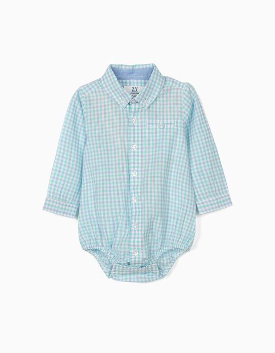 Body-Camisa Quadrados para Recém-Nascido, Azul/Branco