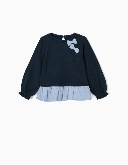 Camiseta de Manga Larga para Bebé Niña con Volantes y Lazos, Azul