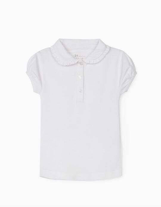 Piqué Knit Polo Shirt for Baby Girls, White