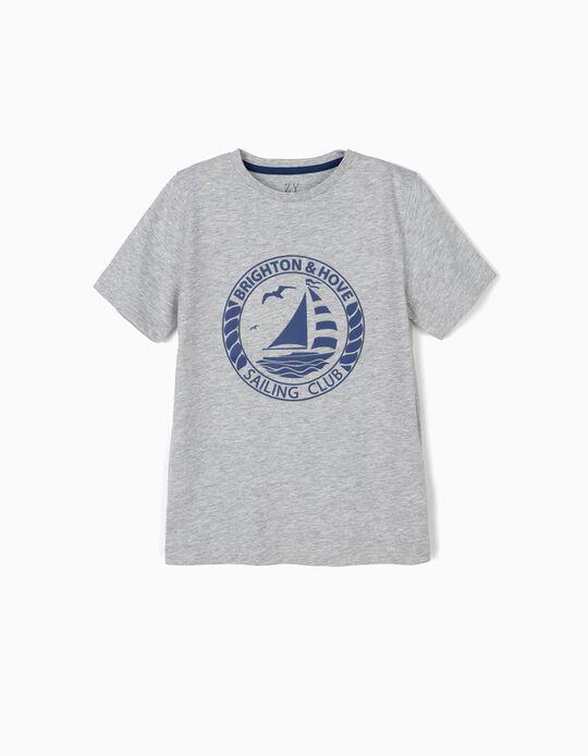 T-shirt para Menino 'Sailing Club', Cinza
