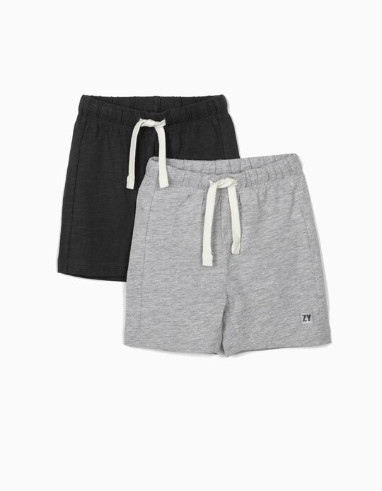 2 Jersey Knit Shorts for Baby Boys, Light Grey/Dark Grey