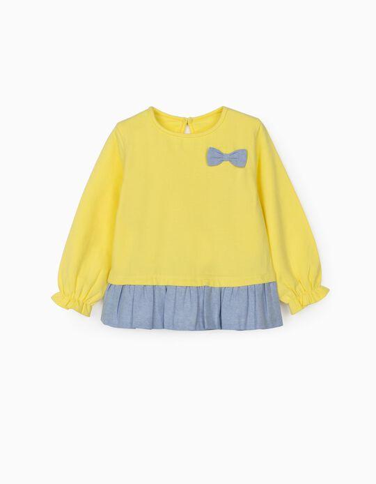 Camiseta de Manga Larga de Dos Materias para Bebé Niña, Amarillo/Azul