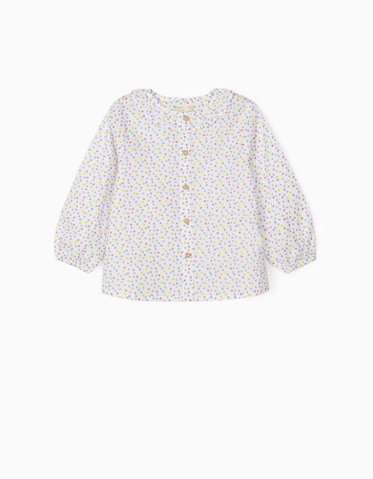Blouse for Baby Girls 'Dots', White