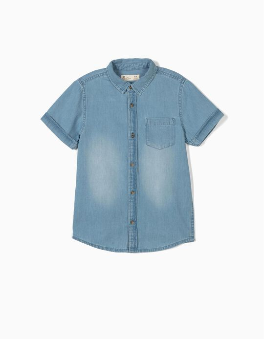 Camisa Denim para Menino, Azul Claro