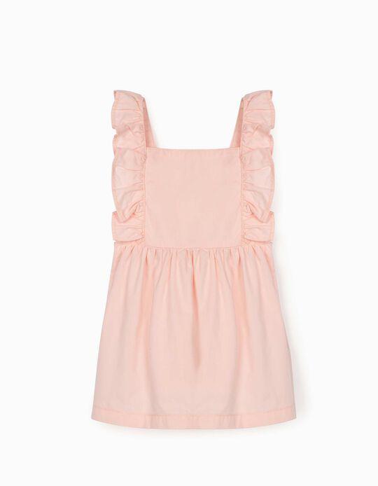 Pinafore Dress with Ruffles for Newborn Baby Girls, Light Pink