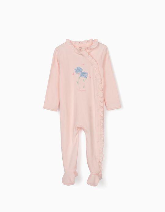 Sleepsuit for Baby Girls, 'Little Garden', Pink