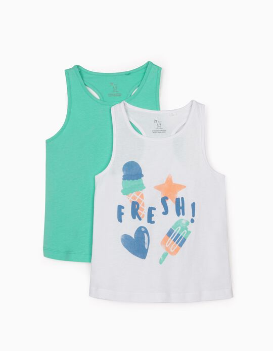 2 Tops for Baby Girls, 'Fresh', White/Aqua Green
