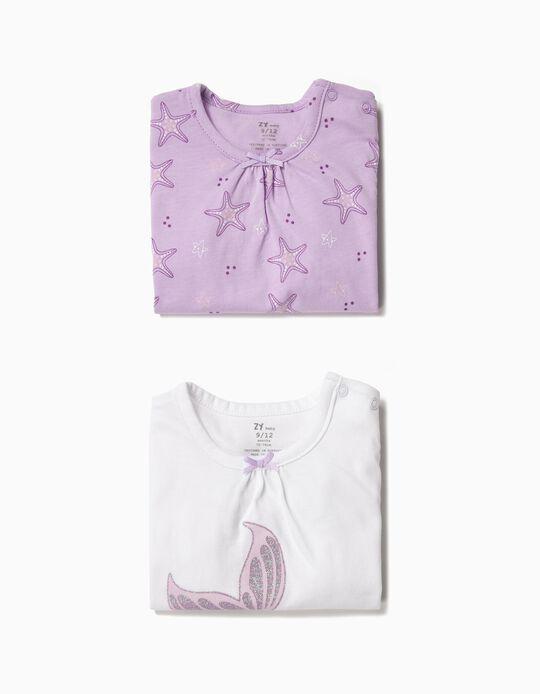2 Babygrows para Bebé Menina 'Mermaid', Branco e Lilás