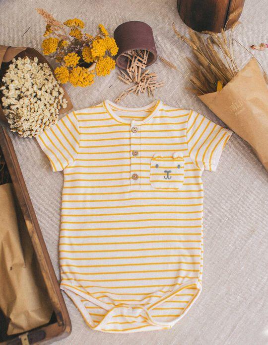 Striped Bodysuit for Baby Boys, White/Yellow