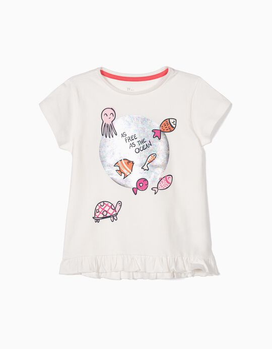 T-shirt for Girls 'As Free as the Ocean', White