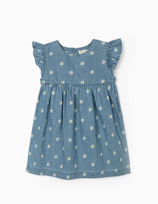 Denim Dress for Baby Girls, 'Flowers' Blue