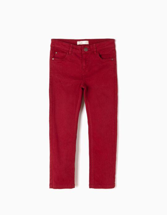 Calças de Sarja Vermelho Escuro