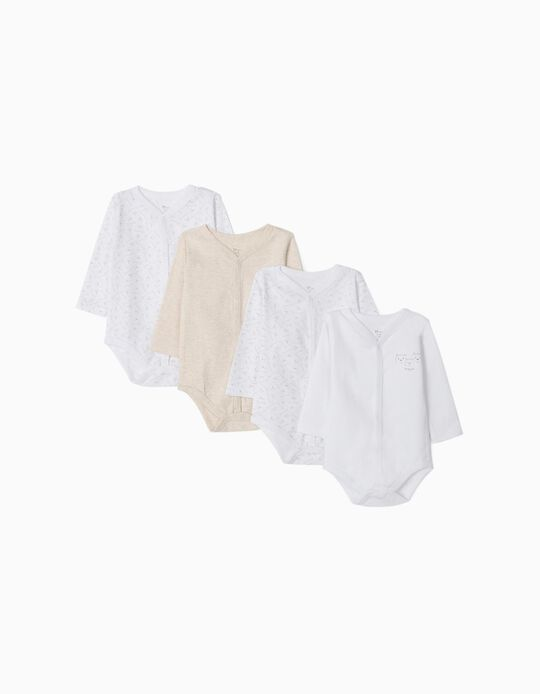4-Pack Trousers with Feet for Newborn 'Family Bear', Beige/White