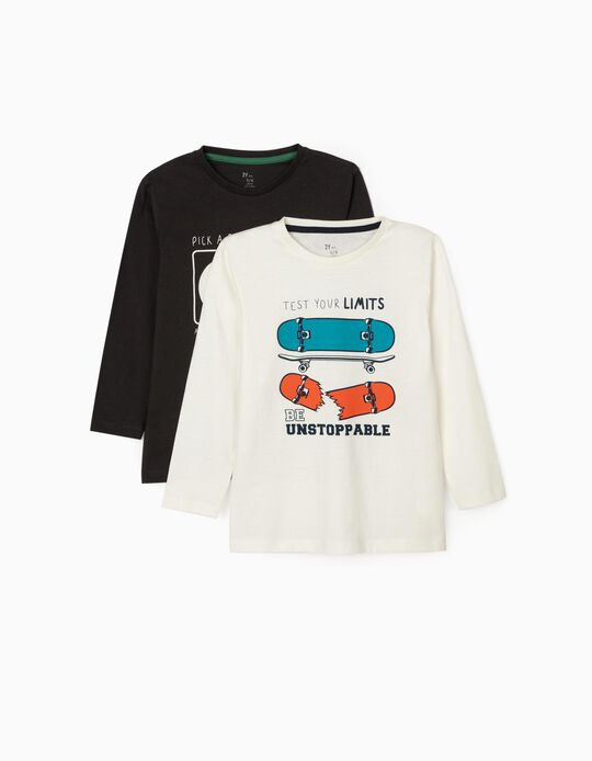 2 Long Sleeve Tops for Boys, 'Limits', White/Grey