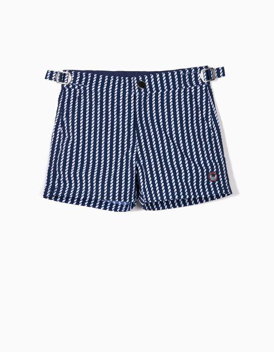Short de bain imprimé garçon, bleu foncé