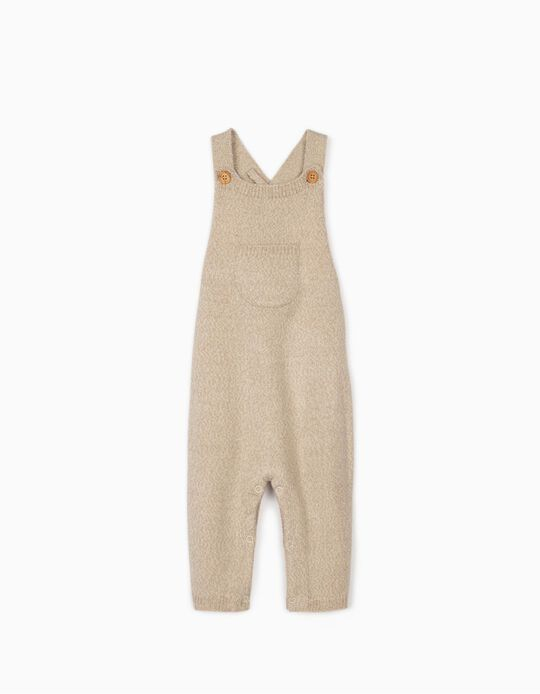 Knitted Dungarees for Newborn Baby Boys, Marl Beige