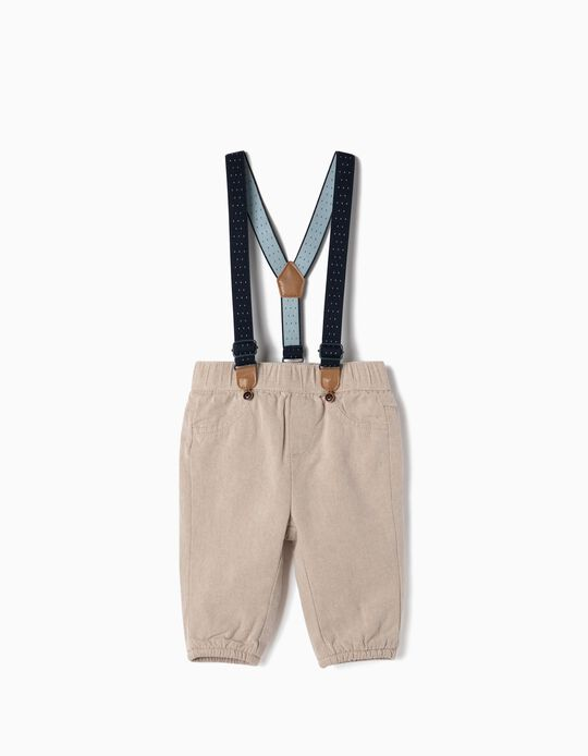 Trousers with Suspenders for Newborn Boys, Beige