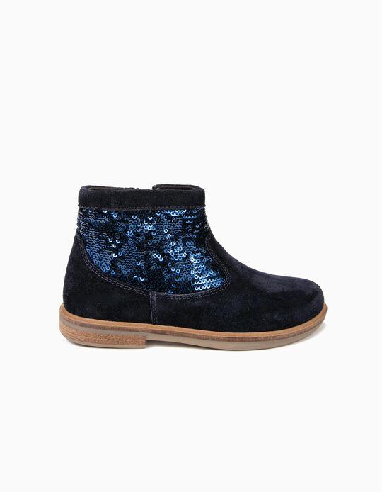 Botas de Camurça para Menina Lantejoulas, Azul