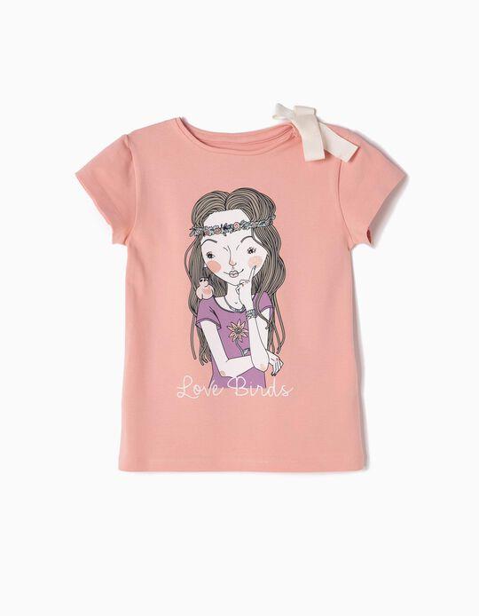 T-shirt Love Birds Rosa