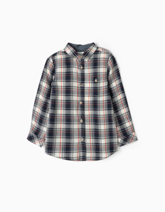 Plaid Shirt for Boys, Blue/Coral