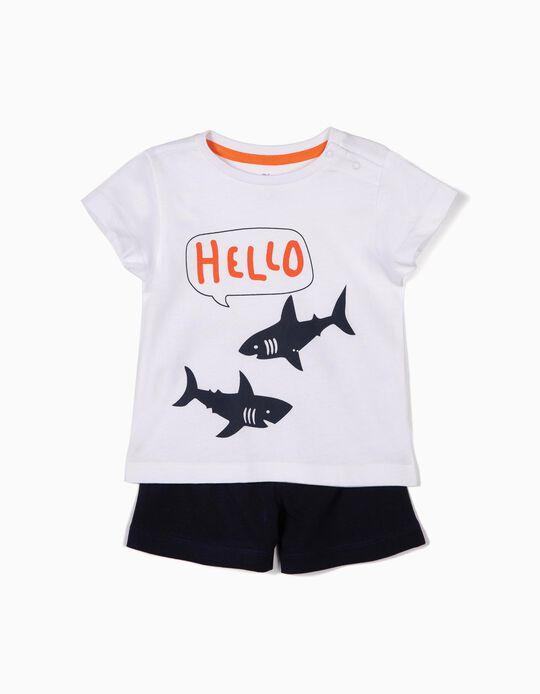 Pijama para Bebé Niño 'Sharks', Blanco y Azul