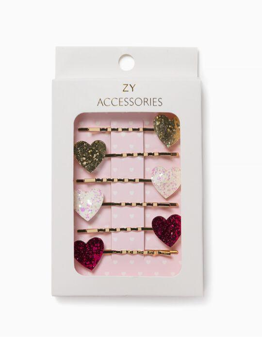 4 Hair Slides for Girls, 'Hearts', Golden