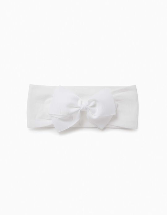 Hairband with Bow for Girls, White