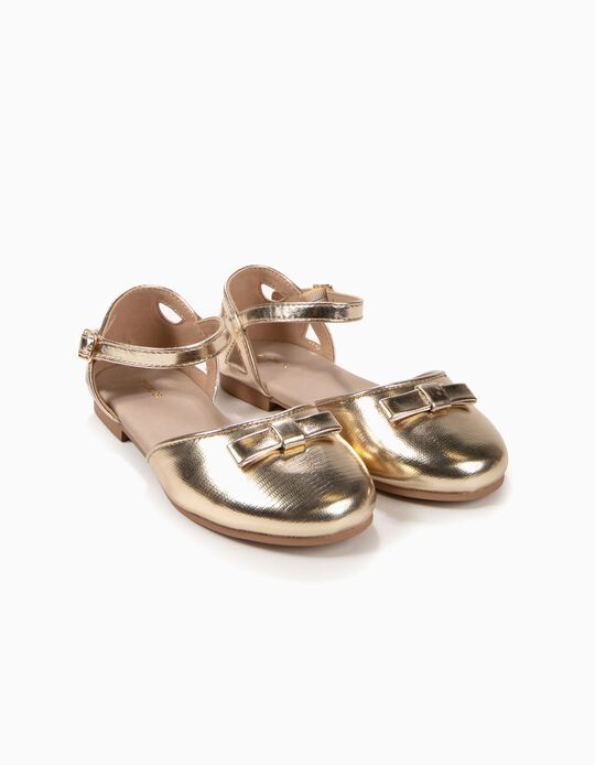 Open Ballerinas with Bow for Girls, Golden