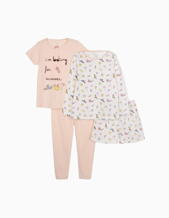 Pijama 4 Prendas para Niña 'Summer', Rosa/Blanco