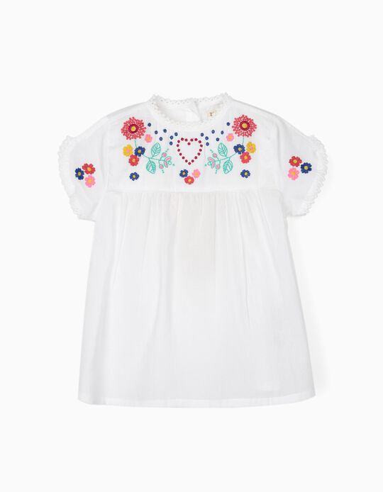 Blouse with Embroideries for Girls, White