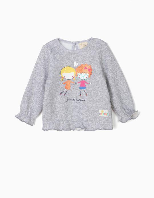 Sweatshirt para Bebé Menina 'Friends Forever', Cinza