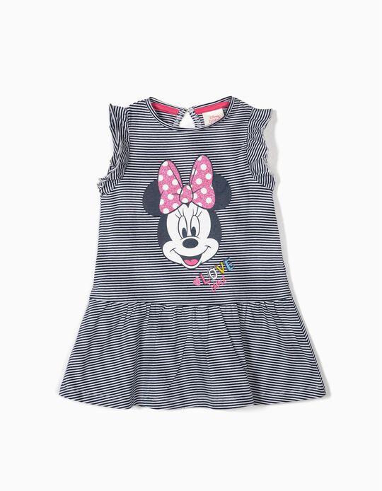 Vestido para Bebé Niña 'Minnie' a Rayas, Azul