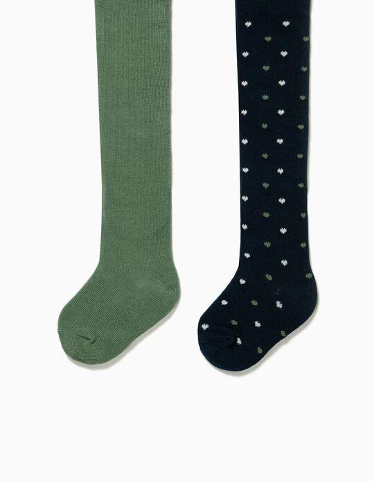 2 Collants de Malha para Bebé Menina 'Corações', Azul Escuro e Verde