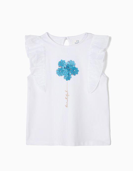 T-shirt para Menina 'Beautiful' com Folhos, Branco
