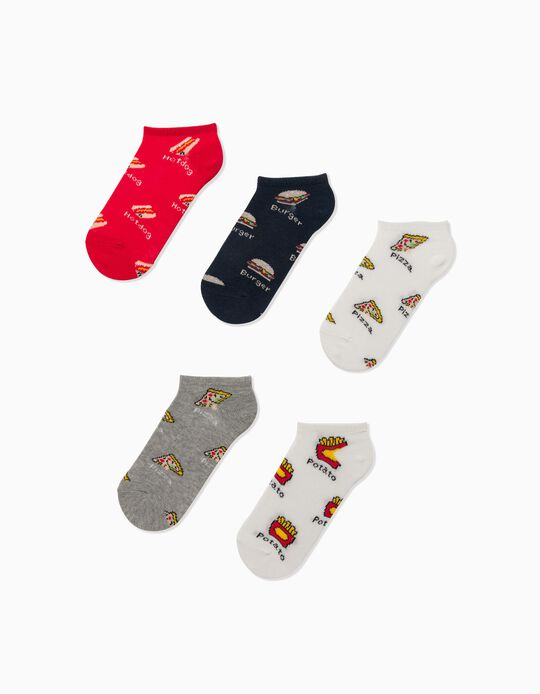 5 Pairs of No Show Socks for Boys, 'Fast Food', Multicoloured