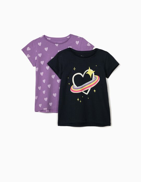 2 T-Shirts for Girls 'Hearts', Dark Blue/Lilac