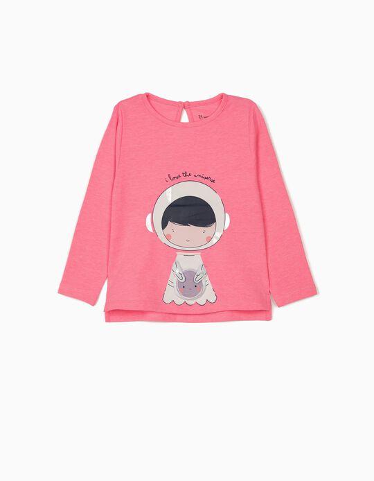 T-shirt Manga Comprida para Bebé Menina 'Universe', Rosa