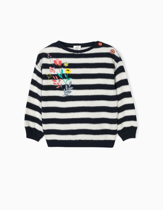 Pull en maille fille 'Stripes & Flowers', bleu/blanc