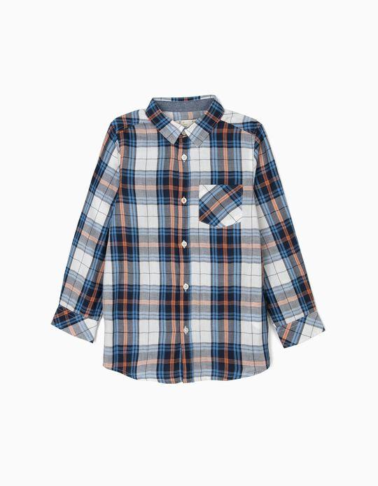 Camisa Xadrez para Menino, Branco e Azul