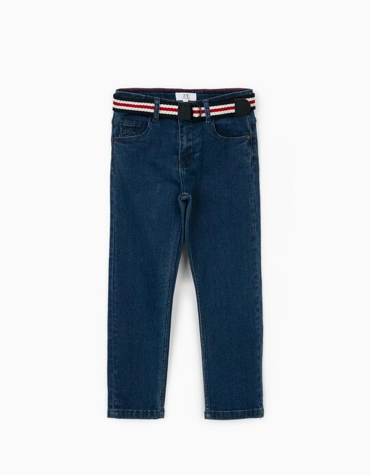 Denim Trousers for Boys, with Belt, Blue