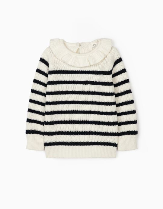 Striped Jumper for Baby Girls, White/Blue