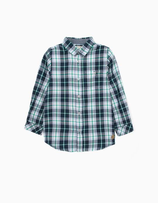 Plaid Shirt with Elbow Patches for Boys, Blue/White