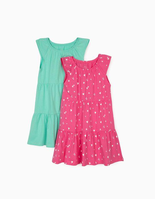 2 robes jersey fille 'Hearts & Stars', rose/vert d'eau