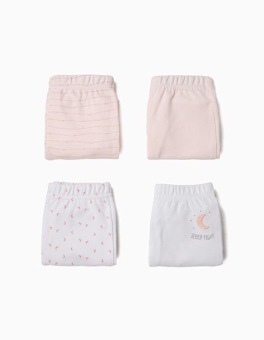 4 Pantalones para Recién Nacido 'Sleep Tight', Rosa y Blanco
