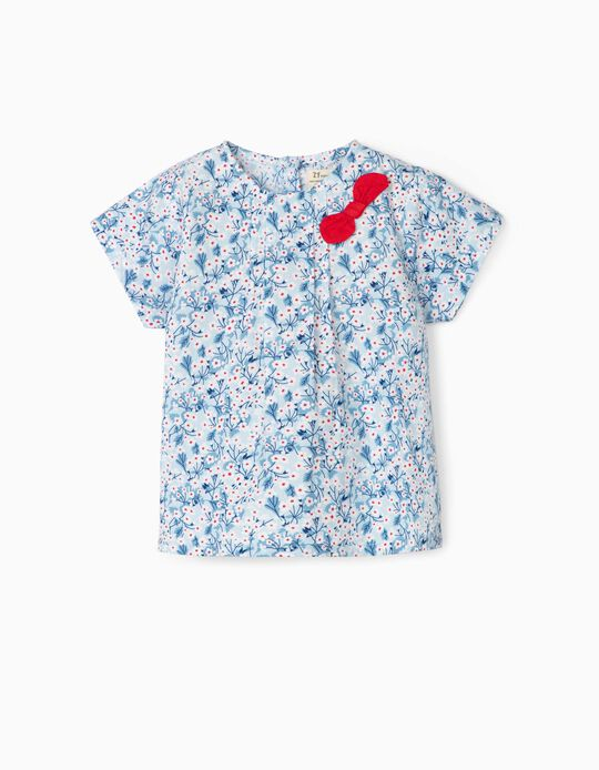 Blouse for Baby Girls, 'Flowers' Blue/White/Red